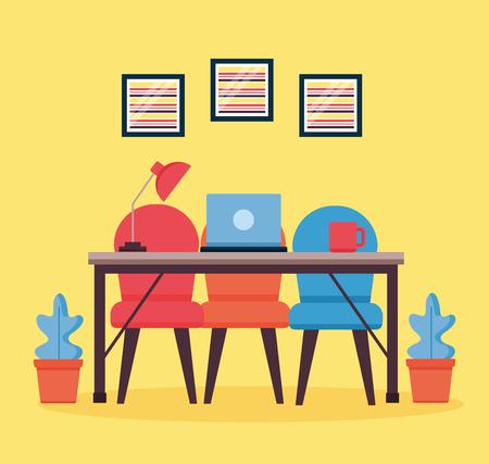 Illustration pour office interior workplace furniture background vector illustration design - image libre de droit