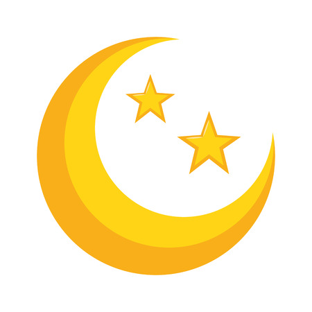 Ilustración de half moon and stars on white background vector illustration design - Imagen libre de derechos