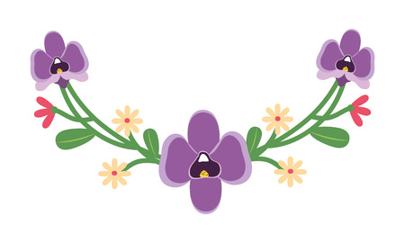 Illustration for flowers leaves decoration on white background vector illustration - Royalty Free Image
