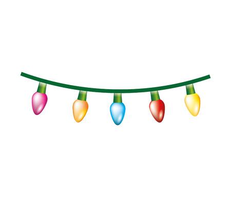 Illustration pour christmas lights decoration isolated icon vector illustration design - image libre de droit