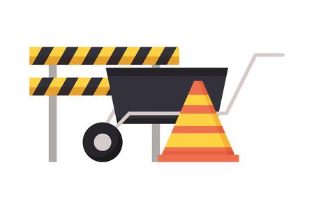 Illustration for barricade wheelbarrow traffic cone tool construction vector illustration - Royalty Free Image