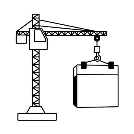 Ilustración de happy labour day calendar and crane vector illustration - Imagen libre de derechos