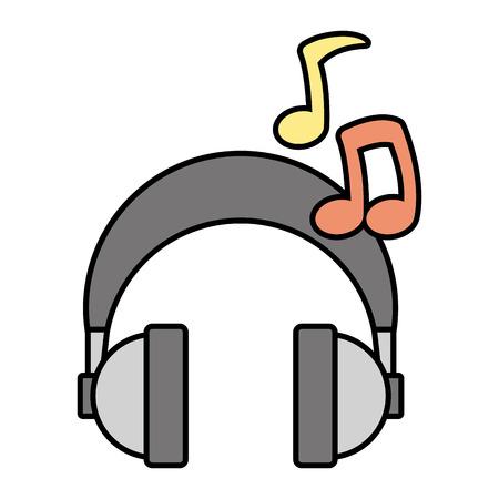 Illustration pour headphones audio music note device vector illustration - image libre de droit