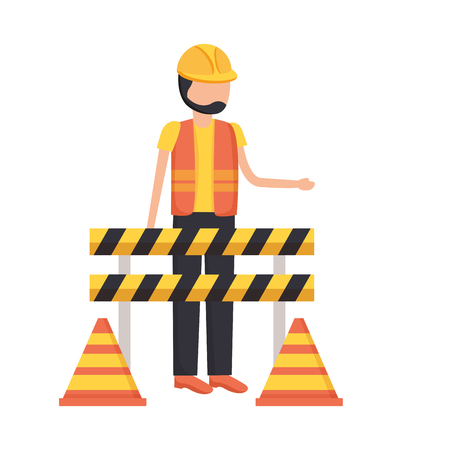Illustration pour construction worker traffic barricade and cone vector illustration - image libre de droit
