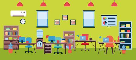 Illustration for office interior workplace furniture vector illustration design - Royalty Free Image