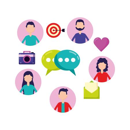 Foto für people chat email sharing social media vector illustration - Lizenzfreies Bild