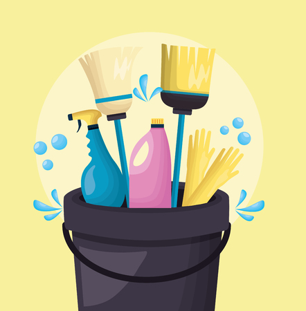 Illustration pour bucket broom mop gloves spray spring cleaning tools vector illustration - image libre de droit