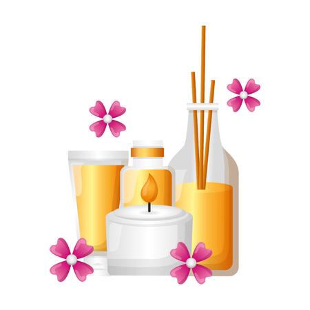 Illustration pour aromatherapy sticks candle lotion flower spa therapy vector illustration - image libre de droit