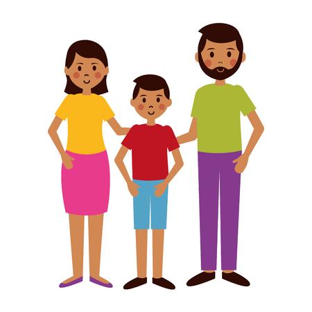 Illustration pour man woman and boy characters vector illustration - image libre de droit