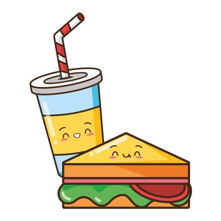 Illustration for kawaii sandwich juice fast food vector illustration - Royalty Free Image