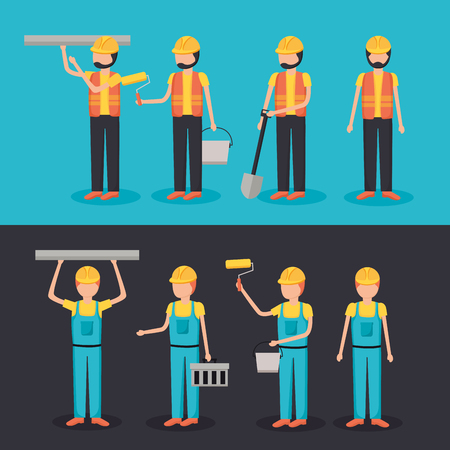 Illustration for workers construction characters equipment set vector illustration - Royalty Free Image