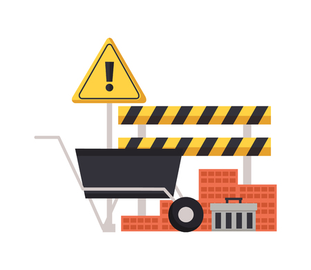 Illustration for construction equipment wheelbarrow bricks barricade warning sign vector illustration - Royalty Free Image