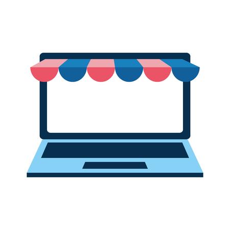 Illustration pour laptop computer with ecommerce tent vector illustration design - image libre de droit