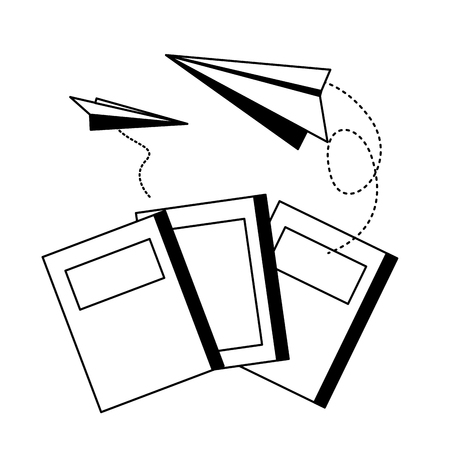 Illustration for world book day books paper planes fly vector illustration - Royalty Free Image