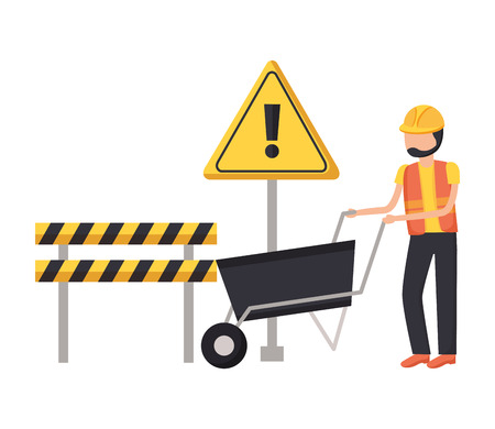 Illustration for worker construction with wheelbarrow barrier tool vector illustration - Royalty Free Image