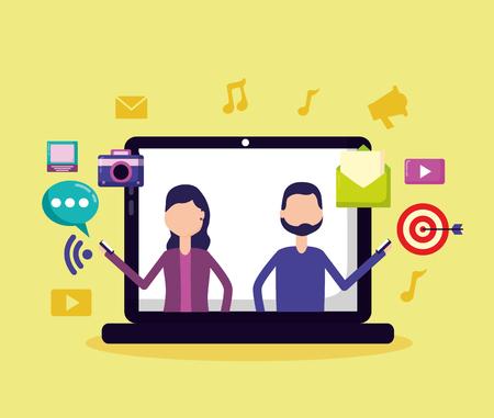 Illustration for people computer mobile target email social media vector illustration - Royalty Free Image
