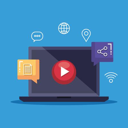 Illustration pour laptop technology with media video and share vector illustration - image libre de droit