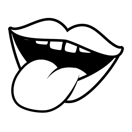 mouth tongue out pop art element vector illustration