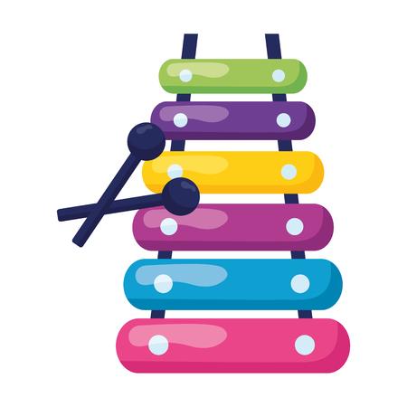 Illustration pour xylophone  kids toy on white background vector illustration - image libre de droit
