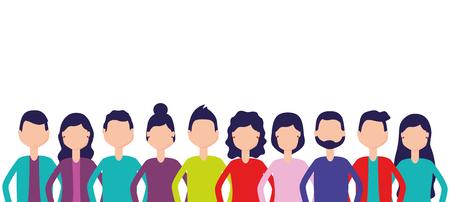 Ilustración de group team people figure on white background vector illustration - Imagen libre de derechos