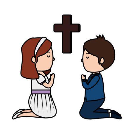 Illustration pour little kids kneeling with cross first communion vector illustration design - image libre de droit