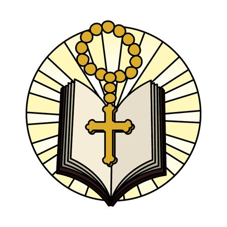 Illustration pour holy bible with rosary vector illustration design - image libre de droit