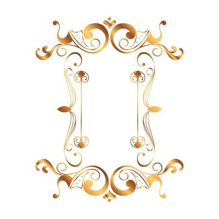 Ilustración de golden square label victorian style vector illustration design - Imagen libre de derechos