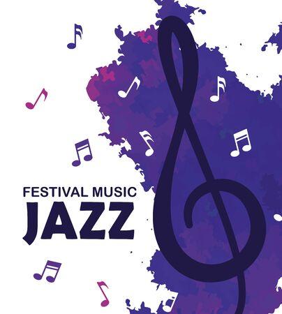 Ilustración de festival jazz day with music notes vector illustration - Imagen libre de derechos