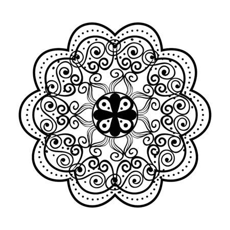 Illustration pour monochrome mandala victorian style vector illustartion design - image libre de droit