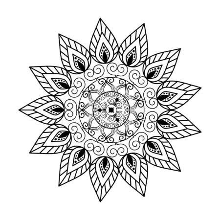 Ilustración de monochrome mandala victorian style vector illustartion design - Imagen libre de derechos