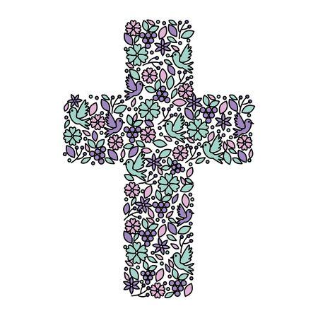 Illustration pour first communion cross floral decoration vector illustration design - image libre de droit