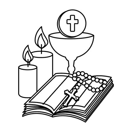 Illustration pour holy bible with chalice and rosary vector illustration design - image libre de droit
