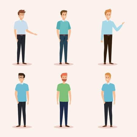Illustration pour set of nice men with hairstyle and casual clothes vector illustration - image libre de droit