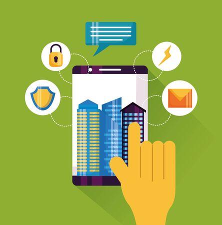 Illustration pour hand smartphone touching service app smart city vector illustration - image libre de droit