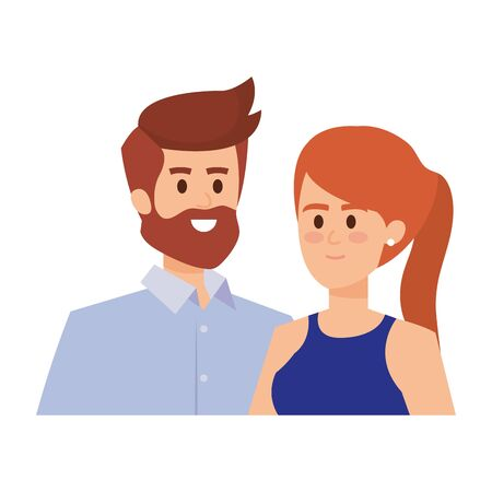 Illustration for adults parents couple avatars characters vector illustration design - Royalty Free Image