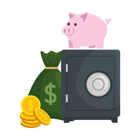 Illustration pour safe box with piggy and money vector illustration design - image libre de droit