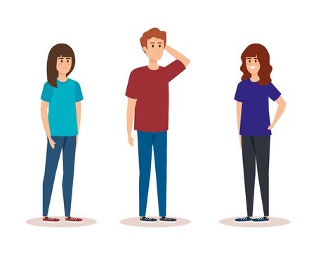 Illustration pour cute girls and boy with hairstyle and casual clothes vector illustration - image libre de droit