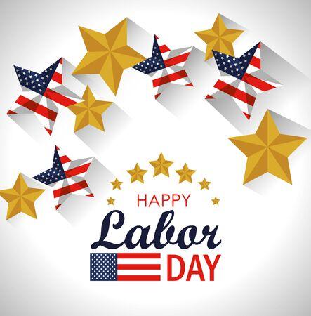 Ilustración de labor day celebration with usa flag stars vector illustration - Imagen libre de derechos