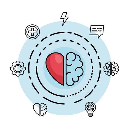 Illustration pour creative brain with heart to creative mind vector illustration - image libre de droit