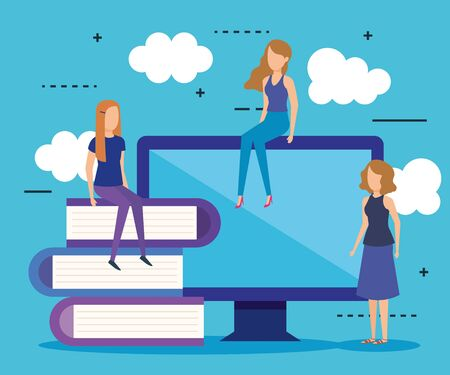 Illustration pour mini people with computer and books vector illustration design - image libre de droit