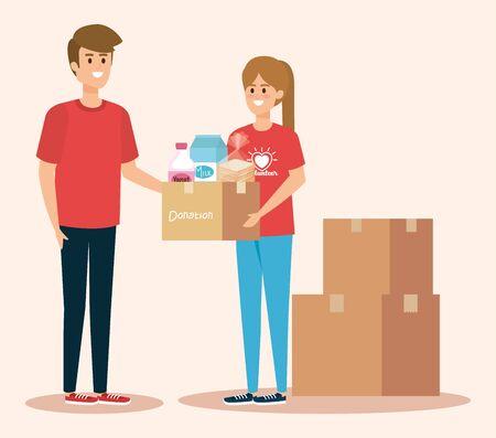 Vektor für boy and girl volunteers with boxes donation vector illustration - Lizenzfreies Bild
