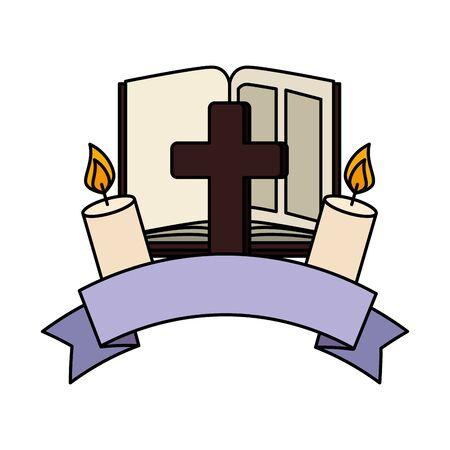 Illustration pour holy bible with cross and candle vector illustration design - image libre de droit