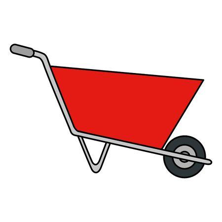 Illustration for wheelbarrow construction tool isolated icon vector illustration design - Royalty Free Image