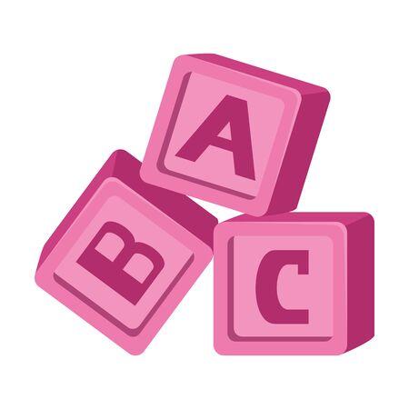 Photo pour alphabet blocks toys baby icons vector illustration design - image libre de droit