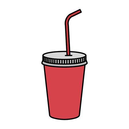 Illustration pour plastic cup with straw vector illustration design - image libre de droit