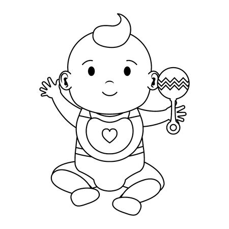 Illustration for cute little baby boy with bell character vector illustration design - Royalty Free Image
