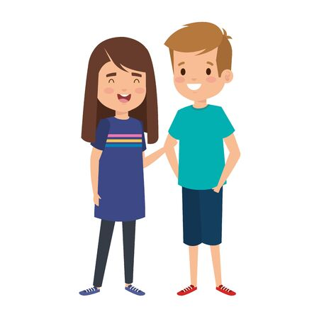 Illustration for cute little kids couple characters vector illustration design - Royalty Free Image