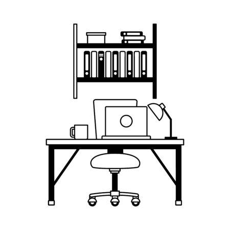 Illustration pour office workplace furniture desk bookshelf vector illustration - image libre de droit