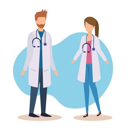 Illustration pour professional doctors with stethoscope and medicine service vector illustration - image libre de droit