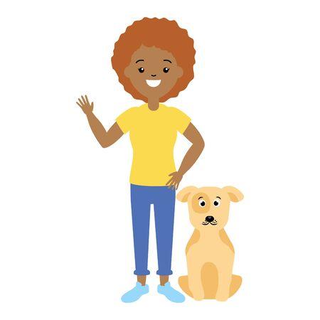 Illustration pour woman and dog pet animals vector illustration - image libre de droit